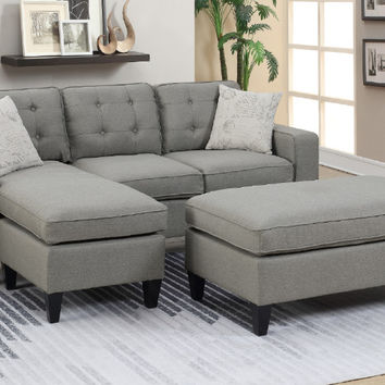 Poundex F6576 2 pc daryl light grey linen like fabric reversible chaise sectional sofa set with ottoman