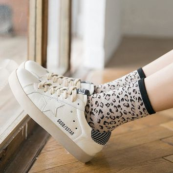 FOURETAW 1 Pair Cute Elegant Fashion Leopard Print Japanese College Style Women Lace Floral Socks Cotton Socks for Girls Ladies