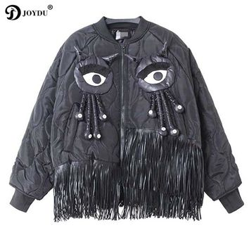 JOYDU Punk Parkas Winter Jacket Women Fashion Eyes Argyle Unicorn Tassel Coat 2017 New Designer Bomber Jacket casaco feminino