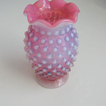 Cranberry glass hobnail, fenton cranberry glass vase, cranberry opalescent, antique cranberry bud vase