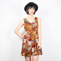Vintage Romper Playsuit Shorts Onsie Outfit Orange Mustard Brown Fall Colors Floral Print Romper 1990s 90s Romper Grunge Romper M Medium