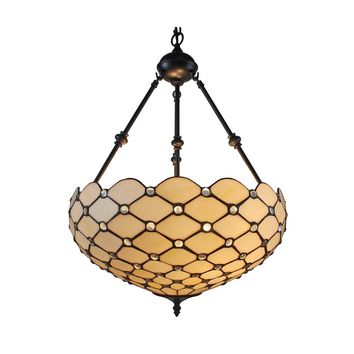 "Amora Lighting Home Decorative AM1117HL18 Tiffany Style Ceiling Hanging Pendant Lamp 18"" 2 Lights - White"