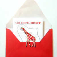 Valentines Day, Love Giraffe Brooch, Hand Coloured, Hand cut, Animal Badge, pin, Red, Wearable Art, Uk.
