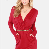 LULUS Exclusive Ruche Decision Wine Red Dress