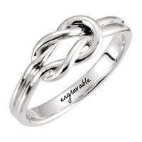 Sterling Silver Knot Design Ring - Engravable
