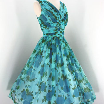 Vintage Party 50s Dress Chiffon Blue Floral Shelf Bust Tiny Pleats Full Skirt 1950s Cocktail Dresses