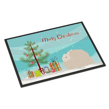 Fluffy Angora Rabbit Christmas Indoor or Outdoor Mat 18x27 BB9326MAT