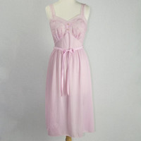 Vintage 1950s Pink Nightgown Slip Dress Lace Bust Pin-up Kayser 34