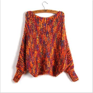 Ms 2017 free custom colors mohair sweaters bat sleeve clothes loose pullovers female off-the-shoulder long sleeves