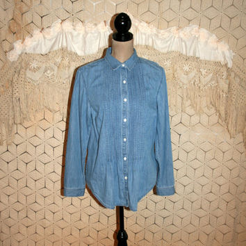Feminine Boho Denim Blouse Tailored Denim Shirt Long Sleeve Denim Top Button Up Pintuck Pleats Denim Poet Blouse Large Womens Clothing
