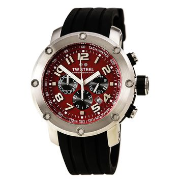 TW Steel TW124 Men's Grandeur Tech Red Dial Black Silicone Strap Chronograph Watch