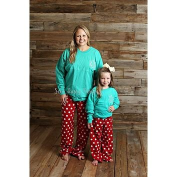 Christmas Pajamas - Teal Top / Polka Dot Pajama Pants