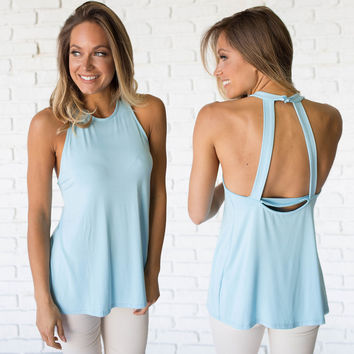 Trapeze Open Back Jersey Top In Baby Blue