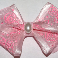 Pale pink sheer bow by mylittlebows on Etsy