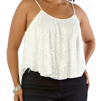 Plus-Size Lace Crop Top - Rainbow