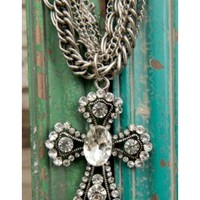 M&F Western Products Silver Crystal Cross Necklace and Earrings Jewelry Set 29713