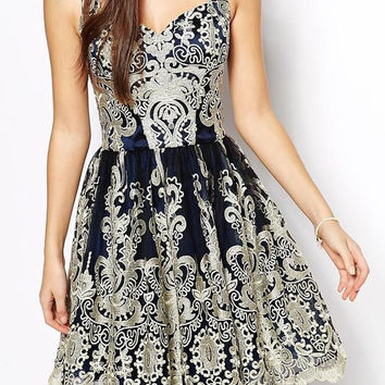 Blue Floral Embroidered Sweetheart Neckline Sleeveless Dress