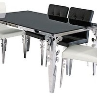 Dining Table With Chrome Leg Detailing