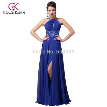 Grace Karin Sexy Women Front Slit Royal Blue Prom Dresses 2017 Chiffon Formal Long Party Gown halter Evening Dress 6023