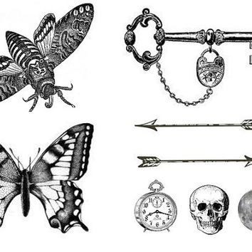 Set of 8 temporary tattoo - Ink, Arrow, Skull, Moth, Butterfly, Key, Tattoo, Woodland, Accessories