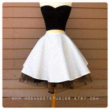 WHITE Full Circle Skirt, Retro Pin Up Skirt, Retro Mod Spring Skirt Custom Colors available in Misses Sizes 2, 4, 6, 8, 10, 12, 14, 16