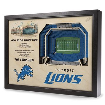 Detroit Lions Ford Field Stadium 3D Art Box