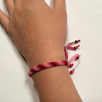 Boho Bracelet/Anklet - Adjustable - Handmade - Raspberry