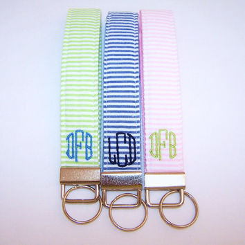 Monogrammed Seersucker Wristlet Key Fob  Choice of by jadejourney