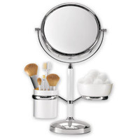 Vanity Mirror Organizer, Vanity Mirror with Storage, 1X/5X Mirror with Storage Caddies | Solutions