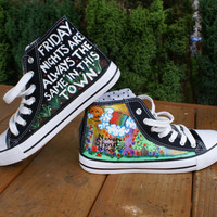 hand painted by granny grogs never shout never canvas high top boots