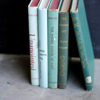 Vintage-Antique-Books-Green/mint-Ombre- GREEN Book Collection-Vintage Decorative Books-Book Bundle- Home Decor- Instant Library