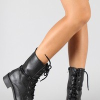 Soda Amato-H Shearling Lace Up Military Mid-Calf Boot