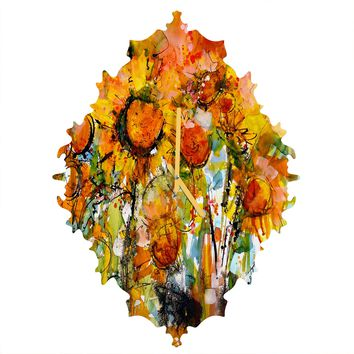 Ginette Fine Art Abstract Sunflowers Baroque Clock