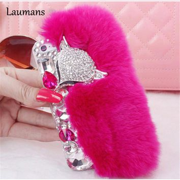 Laumans Rabbit Fur diamond phone Case for iphone X 4s 5s 5c 6 6s 7 8 plus Luxury fox head Rhinestone back Cover Real Rex Lazy