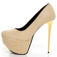 Promise Monsta Nude Studded Party Platform Pumps - $48.00