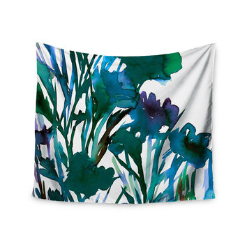 "Ebi Emporium ""Petal For Your Thoughts Teal"" Turquoise Green Wall Tapestry"