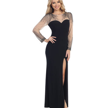Black & Nude Sheer Beaded Sweetheart Gown 2015 Prom Dresses