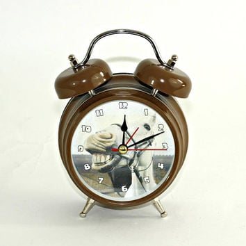 Donkey Clock Battery Operated Brown | Novelty Braying Donkey Clock Hee Haws | Twin Bell Clock w/ Second Hand | Makes Horrible Alarm Noise