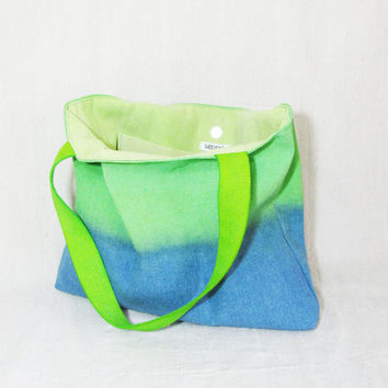 Large lime green cobalt blue canvas tote bag shoulder bag beach bag purse hand dyed upcycled canvas drop cloth