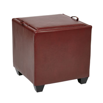 Office Star Storage Ottoman with Tray in Crimson Red Bonded Leather [MET817BRD]