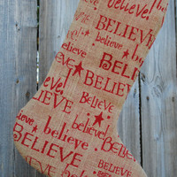 Burlap Christmas Stocking printed burlap