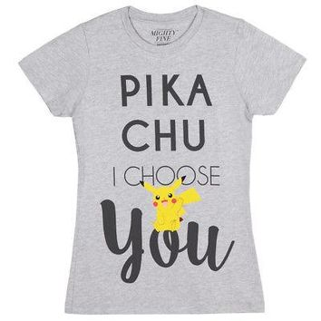 Pokemon Pikachu I Choose You Text Official Licensed Womens Junior T-Shirt - Gray