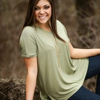 Vega Short Sleeve Top - Olive | Short Sleeve Top | Kiki LaRue Boutique