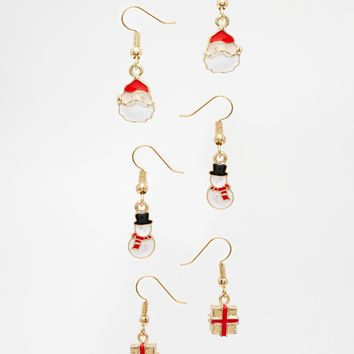 ASOS Pack of 3 Christmas Character Earrings