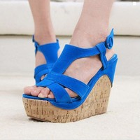 Wholesale Feet to show thin candy colour wedge sandal CZ-0601 blue - Lovely Fashion