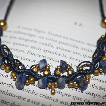 Macramé Necklace Tiara with Healing Gemstone Blue Sodalite and  Brass beads and Charms – Gypsy Bohemian – Hipster One Of A kind