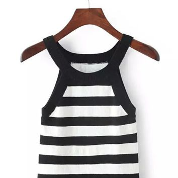 Black and White Skinny High Waist Shoulder Sleeveless Knit Vest