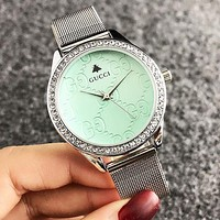 GUCCI Fashion New Round More Diamond Women Men Watch Wristwatch