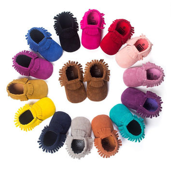 Suede Baby Moccasins. Choice of color.