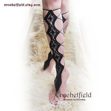 BLACK DIAMONDS crochet lace up  barefoot sandals, knee high, gladiator boots, long, lace, beach, pool, leggings, wedding